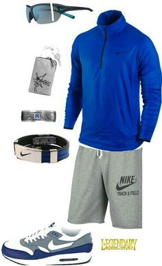 Mens blue nike athletic outfit workout gear for men, workout attire, workou Athletic Outfits, Athletic Fashion, Athletic Wear, Sport Outfits, Nike Outfits For Men, Workout Gear For Men, Workout Attire, Workout Wear, Nike Shoes Cheap