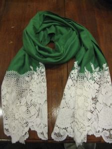 Lace onto scarf.
