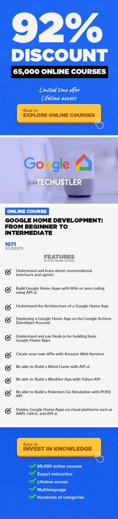 Google Home Development: From Beginner to Intermediate Web Development, Development  The most comprehensive and complete Google Home course. Build & deploy voice activated applications. Update: Join over 8,200 students in the Techustler Course Series. You don't want to miss this opportunity in learning practical knowledge in Tech. Have you ever wondered how Google Home Apps are made? Why are ...