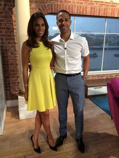 Rochelle Humes stuns in a bright yellow dress on this morning | Dress can be found in link