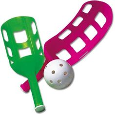 US Games Fun-Air Scoop Ball. Catch and toss the lightweight wiffle-style ball with the scoop when playing this traditional Air Scoop Ball camping game. This game can get crazy-fast with experienced players and it can be slowed for beginners; it's kind of like the difference between fast-pitch vs. softball. It is super-lightweight and easy to transport.