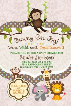 10 Jungle Baby Shower Invitations Swinging Monkey Giraffe Lion Any Color Custom in Home & Garden, Greeting Cards & Party Supply, Greeting Cards & Invitations Baby Shower Niño, Shower Bebe, Baby Shower Gender Reveal, Baby Shower Parties, Baby Shower Themes, Baby Shower Decorations, Shower Ideas, Baby Showers, Girl Shower