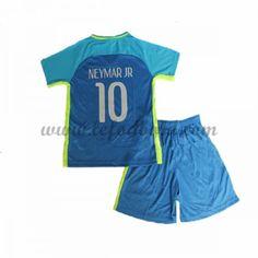 Brasilien Børn Fodboldsæt 2016 Neymar JR 10 Kortærmet Udebane Fodboldtrøjer