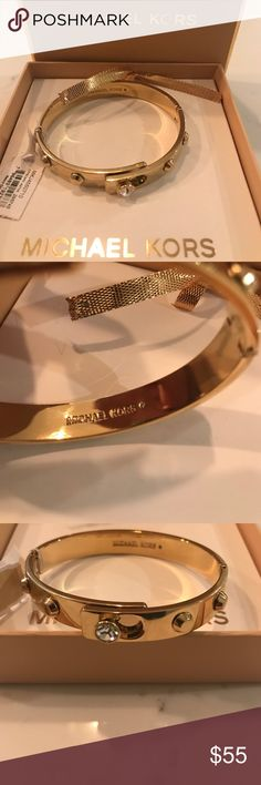 Michael Kors bangle NWT brand new never worn Michael Kors bangle with rinestone detail. Put on like a buckle. Gold plated MICHAEL Michael Kors Jewelry Bracelets