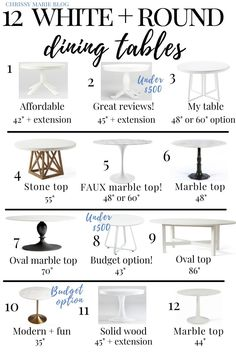 Comb through 12 of the best white round kitchen tables that are designers' favorites, and a range of White Round Kitchen Table, Round Marble Table, White Round Tables, White Marble Kitchen, White Dining Table, Small Tables, Kitchen Tables, Dining Tables, Dining Rooms