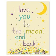 I Love You to the Moon Purple - 8x10 inch print - Finny & Zook