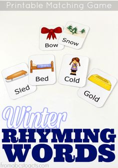 Practice rhyming words with your preschooler this winter! FREE printable rhyming matching game!