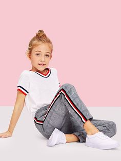 Product name: Girls Striped Side Plaid Pants at SHEIN, Category: Girls Pants & Leggings Girls In Leggings, Girls Pants, Leggings Are Not Pants, Tween Fashion, Little Girl Fashion, Fashion Outfits, Latest Fashion, Fashion Shoes, Women's Fashion