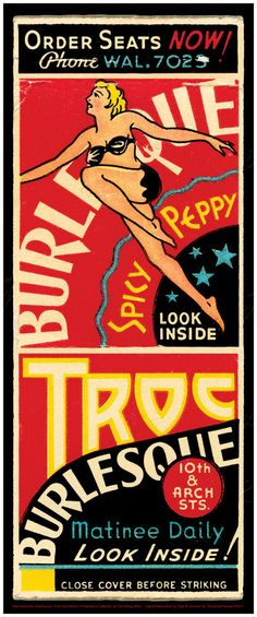 Vintage Philadelphia Print - The Troc - Burlesque House - Vaudeville - Spicy - Peppy - Leggy