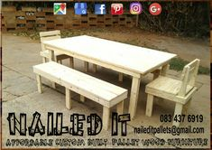 8 Seater Dining room table with 3 seater benches and 2 single seater backrest chairs. Clear finish. Suitable for indoor and outdoor use. Affordable, custom built, pallet wood furniture. Designed by you, built by us. For more info, contact 0834376919 or naileditpallets@gmail.com. #diningtable #diningtables #diningroomtable #diningroomfurniture #pallettable #palletdiningtable #palletwooddiningtable #nailedpalletfurnituredurban #naileditcustombuiltpalletfurniture #custompalletfurniture