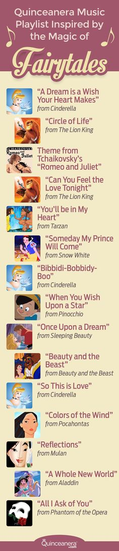 """Quinceanera Music Playlist Inspired By The Magic Of Fairytales """"A Dream is a Wish Your Heart Makes"""" from Cinderella is perfect for your waltz. Quinceanera Dances, Quinceanera Planning, Quinceanera Themes, Quinceanera Centerpieces, Disney Sweet 16, Cinderella Sweet 16, Sweet 16 Decorations, Quince Decorations, Daughter Songs"""