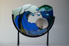 Stained Glass Wave with Shell