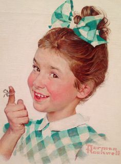 "Norman Rockwell (1894-1978), ""Girl with String"" (Kellogg Company advertisement, 1955) - (""American Chronicles: The Art of Norman Rockwell"" @ Tampa Museum of Art ~ Tampa, Florida, USA)"