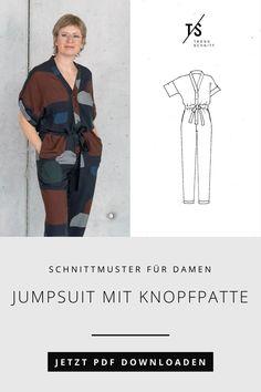 Jetzt das Schnittmuster für den Jumpsuit mit Knopfpatte als PDF downloaden und sofort mit diesem Allrounder als Outfit zum Selbermachen starten. Der Anzug ist vielseitig kombinierbar: ob chic am Abend oder lässig in der Stadt. Ein perfektes und lässiges Outfit für viele Gelegenheiten. Trends, Diy Fashion, Casual Dress Outfits, Beauty Trends