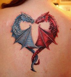 Blue And Red Dragon Tattoos In Heart Shape On Back