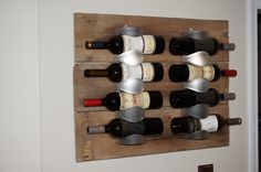 Wine Racks from Ikea with Antique/Distressed wood really upgrade this look!