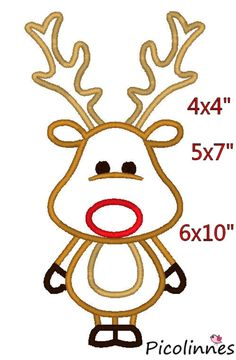 Reindeer M2M fabric Christmas Applique  Design Embroidery Pattern 4x4 5x7 6x10 INSTANT DOWNLOAD by Picolinnes4Kids on Etsy