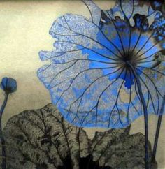 Delicate blue lotus  painting by contemporary artist Sun Lijuan