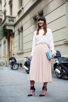 Pink pleated skirt- The Sartorialist