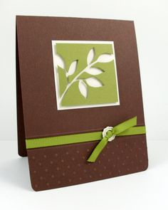 """Little Leaves Sizzlits Die to create the """"cut away"""" portion of focal point.  Popped up on Dimensionals.  Just the bottom portion of the card is embossed using the Perfect Polka Dots Textured Impressions Embossing Folder.   The ribbon is highlighted by score lines immediately above and below it."""