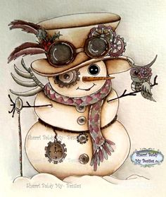 img781 Steampunk Snowman Besties digi stamp - My Besties Shop