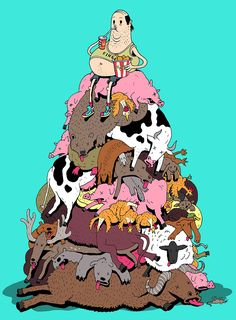 Artist Steve Cutts is a freelance illustrator based in London. He creates satirical illustrations that portray the (sad) truth about the world we live in. Cartoon Cartoon, Cartoon Shows, Satire, Caricature Art, Illustrator, Caricatures, Satirical Illustrations, Graphic Illustrations, Animal Rights