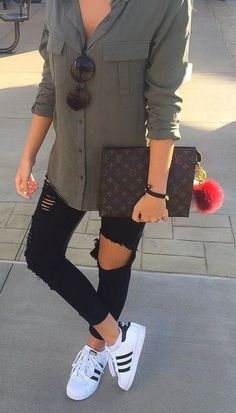Fashion Outfits: super cute - love it paired with the Adidas! Conve...