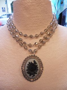 3 strand smoky GRAY black ROSE CAMEO necklace by SiouxZanneMessix