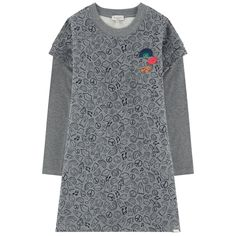 Dress: Cotton fleece    Sleeves: Cotton jersey Pleasant to the touch Straight fit Crew neck Long sleeves Layered sleeves Mottled effect Fancy print Patterns can be placed randomly on each dress Embroideries   Brand label on the front - $ 71.40