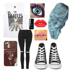"""Beatles ✌️"" by quincy-osborn ❤ liked on Polyvore featuring Wet Seal, Topshop, Casetify, Converse, le top and Lime Crime"