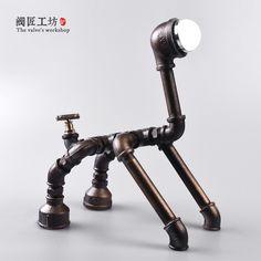 Tubulação de água lâmpada de Mesa candeeiro de Mesa Abajur candeeiros de Mesa para quarto lâmpadas de Mesa lâmpada de cabeceira estilo Retro filhote de cachorro