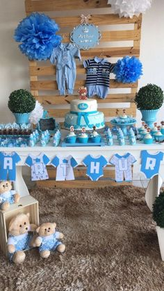50 Awesome Baby Shower Themes and Decorating Ideas for Boy - Cha de bebe - Baby Shower Decorations For Boys, Boy Baby Shower Themes, Baby Shower Centerpieces, Baby Shower Favors, Baby Shower Parties, Baby Boy Shower, Baby Shower Gifts, Baby Shower Garcon, Juegos Baby Shower Niño
