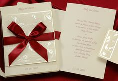 Red Wedding Ideas - Red Ribbon Invitation (Invitation Link - http://www.occasionsinprint.com/pinterest-board---red-wedding-invitations.html