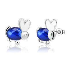 Синий циркон мультфильм милый кролик высокое качество серебряные серьги для женщин мода ювелирных изделий серьги / KSJERJTB DLTOMDJC