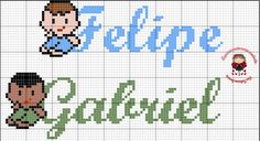 Ponto Cruz Nome Felipe, Gabriel Gabriel, Comics, Boys, Fictional Characters, Disney, Boy Names, Hand Towels, Finding Nemo, Cross Stitch Embroidery