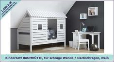 Spielbett / Abenteuerbett BAUMHÜTTE, für Dachschrägen / schräge Wände, weiß, Massivholz, 90x200cm, umbaubar zum Basisbett