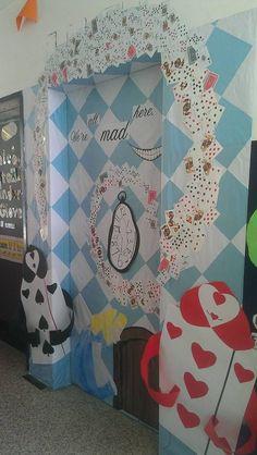 Trendy disney classroom door decorations alice in wonderland ideas Disney Classroom, Classroom Door, Classroom Themes, Halloween Door Decorations, Theme Halloween, Homecoming Themes, Disney Homecoming, Prom, Alice Tea Party