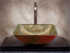 Logan Gold Square Glass Basin( x x in) Gold and black overlays in a smooth interior with a textured paint exterior in copper like color Glass Basin, Glass Vessel Sinks, Exterior Paint, Logan, Overlays, Interior, Mad, Smooth, Copper