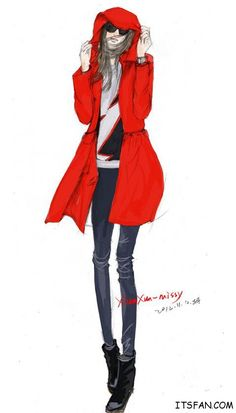 fall and winter street fashion style; red overcoat; fashion painting #fashion #illustration