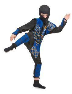 Ninja-Kostüm blau für Jungen: Ninja-Kostüm blau für Jungen aus 6 Einzelteilen. Schwarze Hose mit Gummibund.  Schwarzes Langarm-Shirt. Eine blau glänzende Rüstung aus dickem Stoff, wird an der Taille mit einem Gürtel...