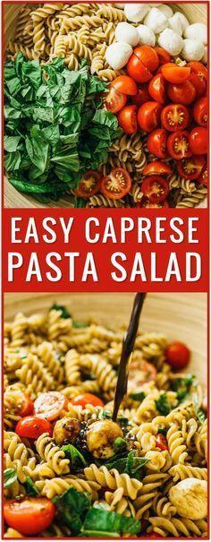 easy caprese pasta salad recipe, caprese salad, caprese appetizer, cherry tomatoes, grape tomatoes, chopped caprese salad, ingredients, tomato, mozzarella cheese, fresh basil, lunch, dinner, side dish, idea via @savory_tooth