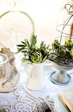 "Do floral arrangements feel a little too ""been there, done that"" for your taste? Here, get inspired by 50 gorgeous centerpieces that don't rely on flowers to make a lasting impression. Non Floral Centerpieces, Branch Centerpieces, Wedding Table Centerpieces, Wedding Decorations, Table Decorations, Centerpiece Ideas, Centerpiece Flowers, Flower Arrangements, Wedding Reception Planning"