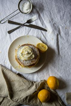 Meyer Lemon Ricotta Pancakes, with Chamomile Whip by Two Red Bowls, via Flickr