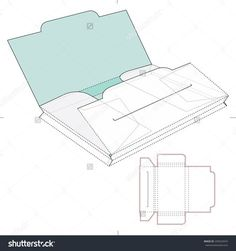 Two Section Folder Stock Vector Illustration 249523474 : Shutterstock Diy Craft Projects, Diy And Crafts, Paper Crafts, Box Packaging, Packaging Design, Cd Cover Design, Folder Design, Box Patterns, Origami Box