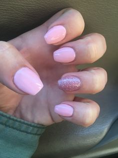 Opi small + cute and Milani pink flare short coffin nails. Light pink with pink glitter short coffin nails!