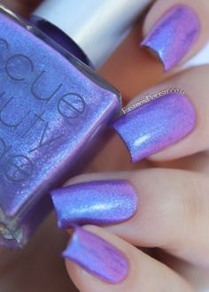 RBL / Rescue Beauty Lounge, GalaxSea is a muted purple nail polish / lacquer packed with bold blue to purple duochrome shimmers