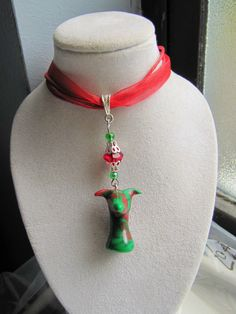 Greyhound Whippet Christmas Necklace in Red and Green by GreyhoundCleyhounds on Etsy