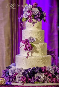Q&A with Ana Parzych Custom Cakes Textured Wedding Cakes, Purple Wedding Cakes, Wedding Cakes With Flowers, Beautiful Wedding Cakes, Beautiful Cakes, Purple Cakes, Flower Cakes, Amazing Cakes, Mod Wedding