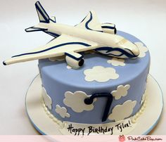 Birthday Airplane Cake by Pink Cake Box Airplane Birthday Cakes, Airplane Cakes, Airplane Party, Birthday Fun, Fondant Cakes, Cupcake Cakes, Cupcakes, Pastries Images, Planes Cake