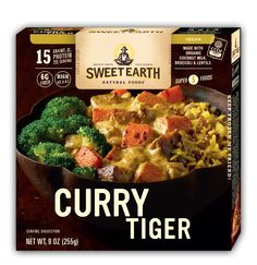 Be at peace with the Tiger with the exotic tastes of East Asia. Imagine curried lentils, sweet potatoes, broccoli and carrots on a bed of brown rice and quinoa shimmering with cinnamon, cardamom and tumeric.. @sweetearthfoods delicious Vegan Curry Tiger Bowl is guaranteed to quiet that hungry tiger inside you.